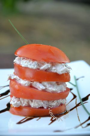 millefeuille, tomate, thon, boursin