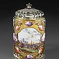 Christian friedrich herold (1700-1779), a cylindrical tankard with poly- and monochrome kauffahrtei-scenes, meissen ca. 1732