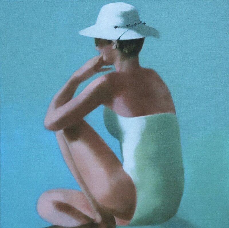le chapeau de brousse 0906 - huile sur toile de jute - 100 x 100 cm