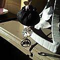 sautoir boule de soie noir