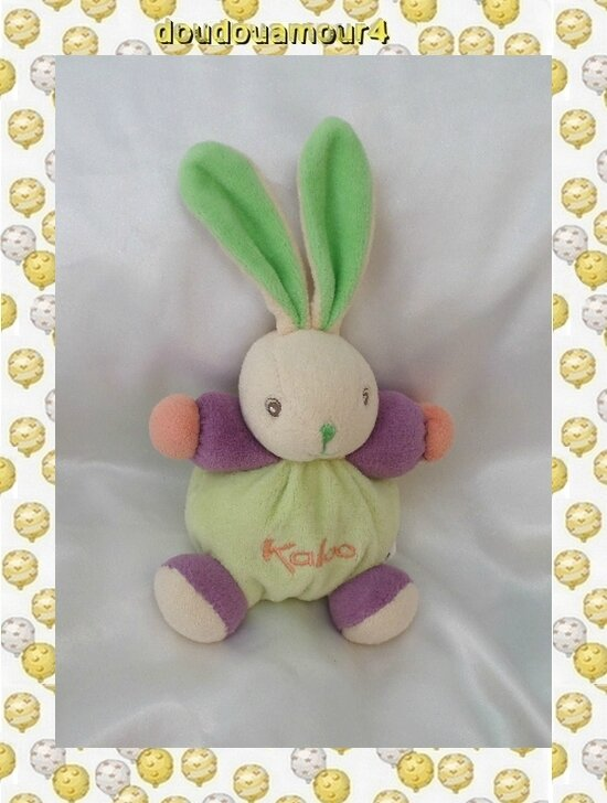 Doudou Peluche Mini Lapin Boule Vert Violet Orange Kaloo
