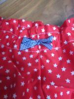 Culotte BIANCA en coton rouge imprimé étoiles blanches - Noeud de vichy marine (3)