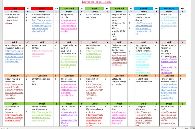 menus du 10 au 16 fevrier