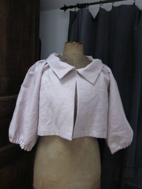 Veste Blanche en lin rose poudré (2)