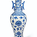 An unusual large blue and white baluster vase, ming dynasty, early 16th century