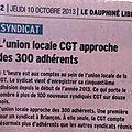 Article dauphiné libéré du 10 octobre 2013