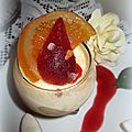 Verrine de nougat glacé /calisson et coulis de fruits rouges