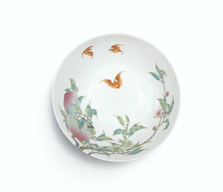 An extremely rare and superbly enamelled pair of Famille-Rose 'Peach' bowls, Marks and period of Yongzheng (2)