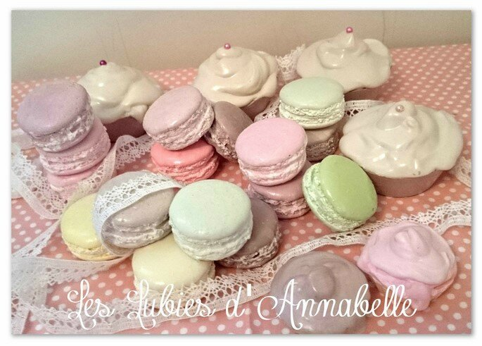 macarons plâtre et cupcake