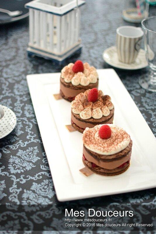 Dessert individuel chocolat framboise