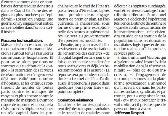 2020 03 26 SO Macron promet un plan d'investissement 2