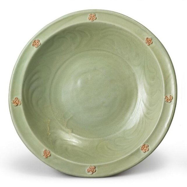 A 'Longquan' celadon-glazed and biscuit-decorated dish, Yuan dynasty
