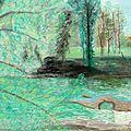 2003, les berges de l'Ariège, création, pastel sec