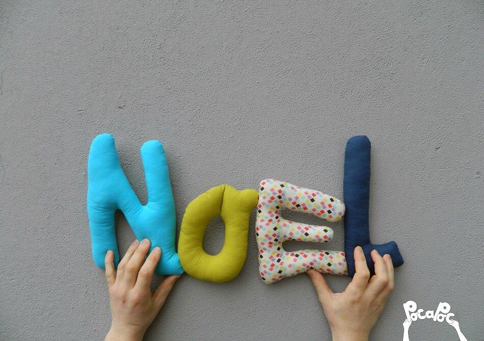 noel,mot en tissu,mot decoratif,cadeau de naissance,decoration chambre d'enfant,cadeau personnalise,cadeau original,poc a poc blog