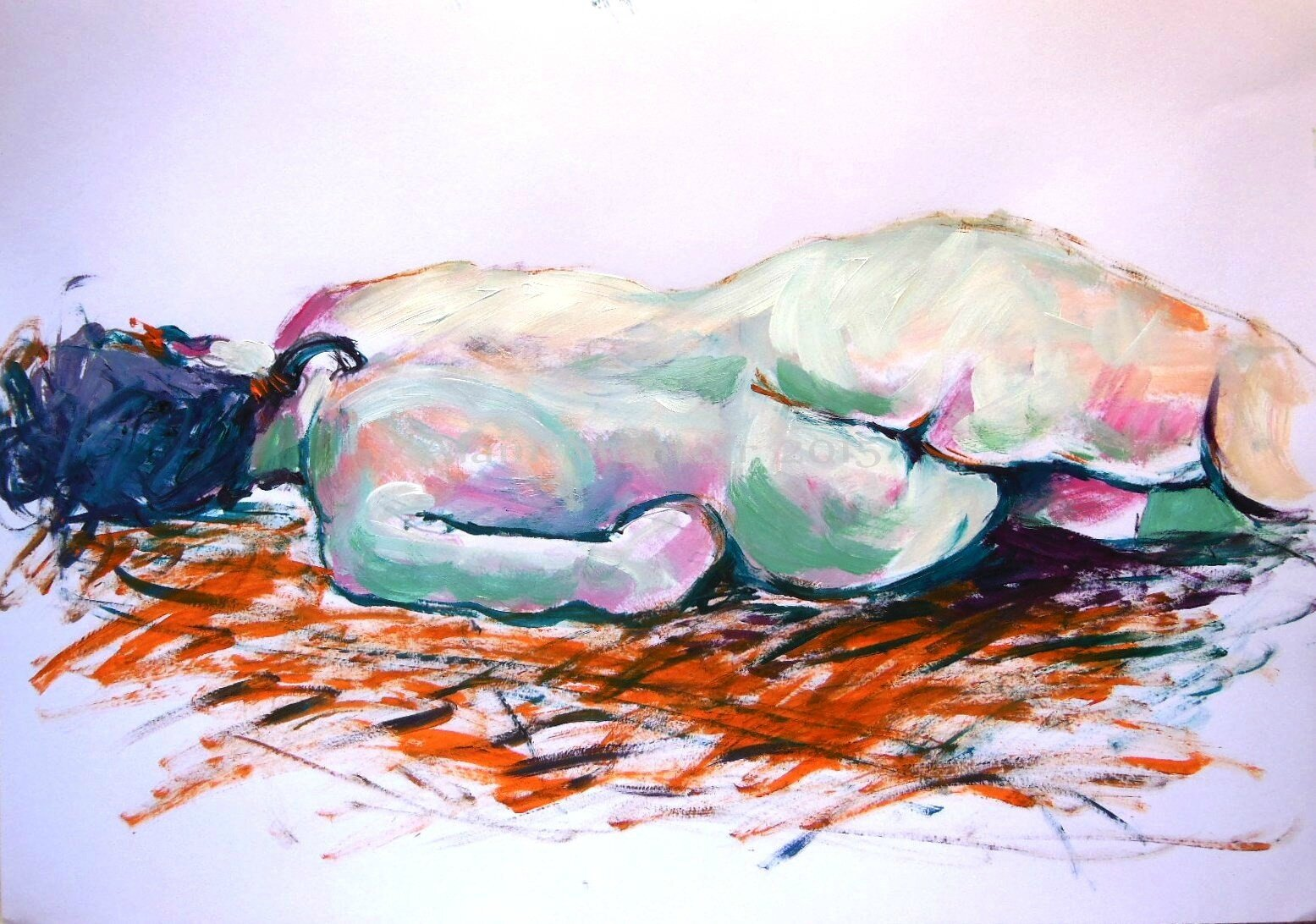 1-Tableau dessin peinture contemporaine nu alain montoir Galerie Avignon (12)
