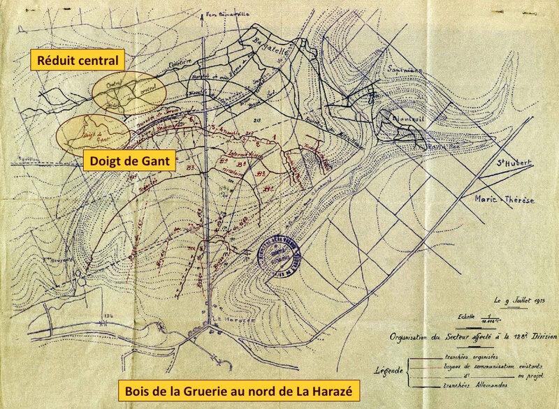Gruerie, Harazée, 128e DI, 9 juillet 1915