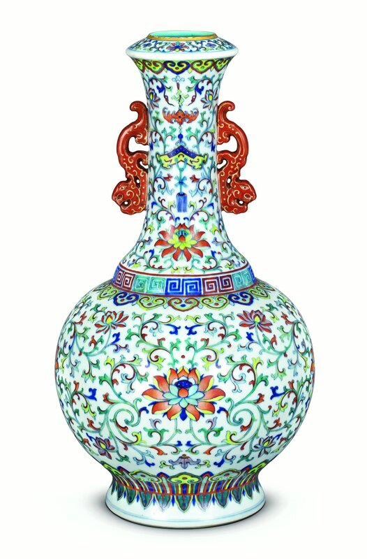 "A fine doucai ""lotus"" vase with kuilong-shaped handles, Qianlong mark and period (1736-1795)"