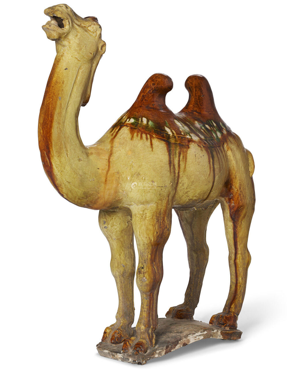 A sancai-glazed pottery figure of a Bactrian camel, Tang dynasty (AD 618-907)