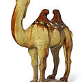 A sancai-glazed pottery figure of a Bactrian camel, Tang dynasty (AD 618-907)