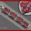 Bracelet Fimo multi rouge et noir (N)