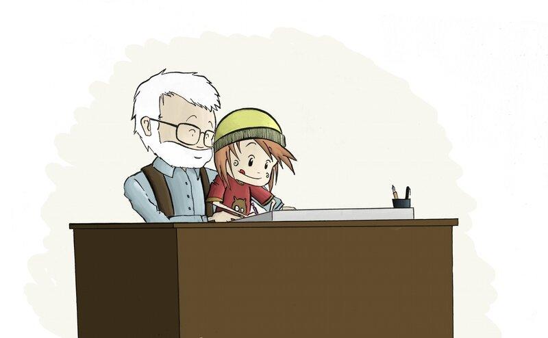 Tom et Sen au dessin cerné