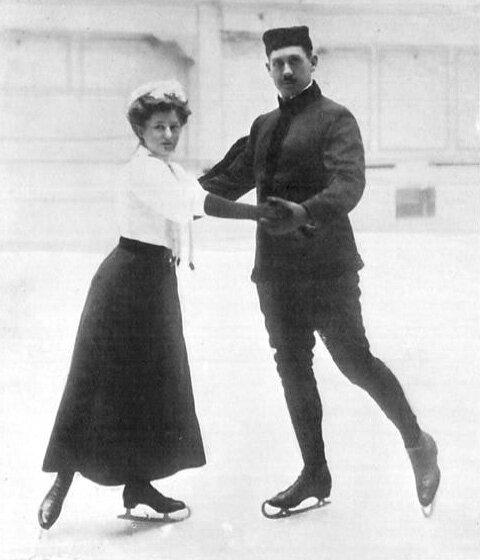 JO 1908 Londres Patineurs Anna Hübler & Heinrich Burger