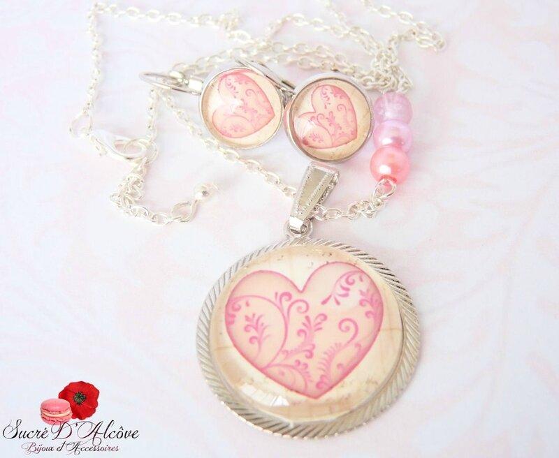 Collier médaillon mon coeur rose (1)