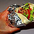 Wrap crudités, poulet et bacon grillés