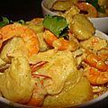 Crevettes a l'ail, citron vert, gingembre, soja et lait de coco