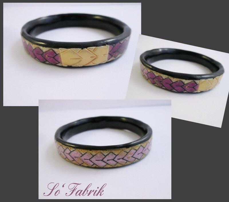 Bracelet motif Maori violet OR noir