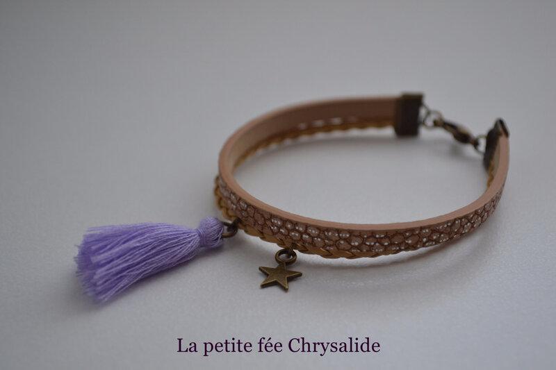 Bracelet cuir marron aux effets craquelés