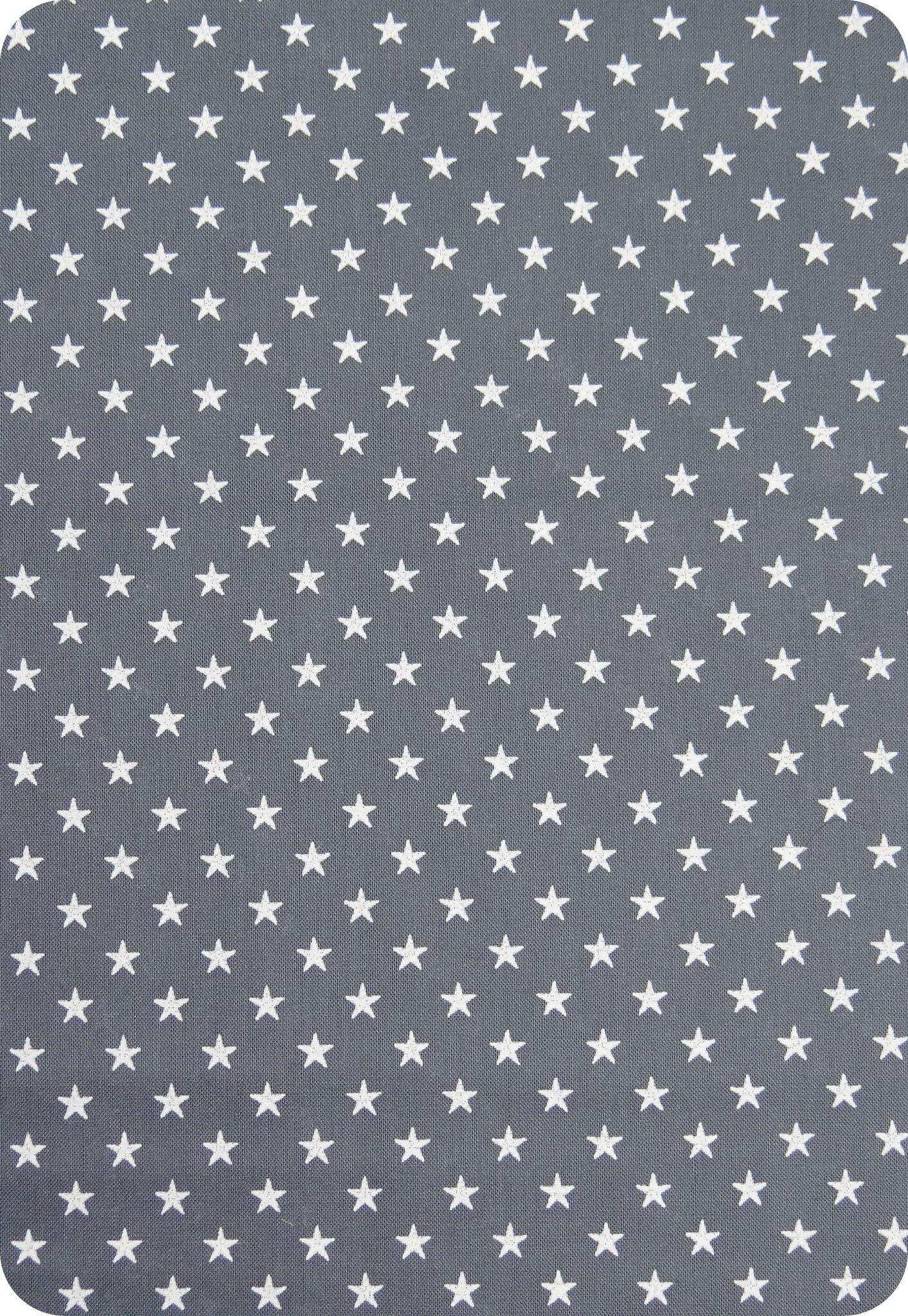 Tissu France Duval gris étoiles blanches