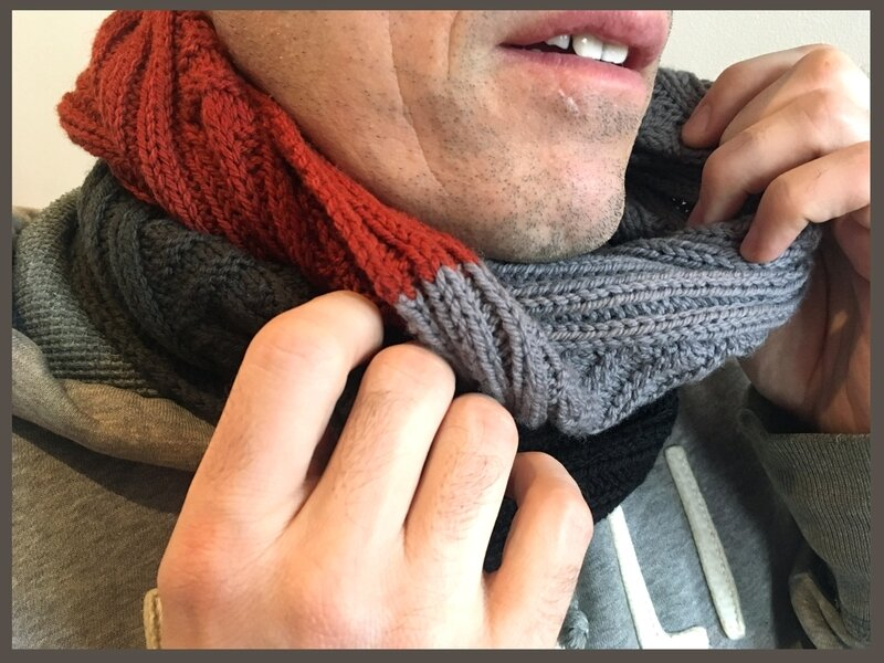 Ribron Cowl gris-orange -4