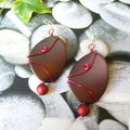 Boucles d'oreilles red and brown