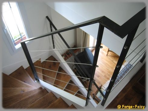 rampe cable 2 photo de escaliers rampes la forge des deux fr res. Black Bedroom Furniture Sets. Home Design Ideas