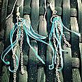 Boucles d'oreilles bouteilles plastiques bleues et fine chaine P