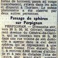 Xx/09/1954 : perpignan, 2 sphères avec sillage orange