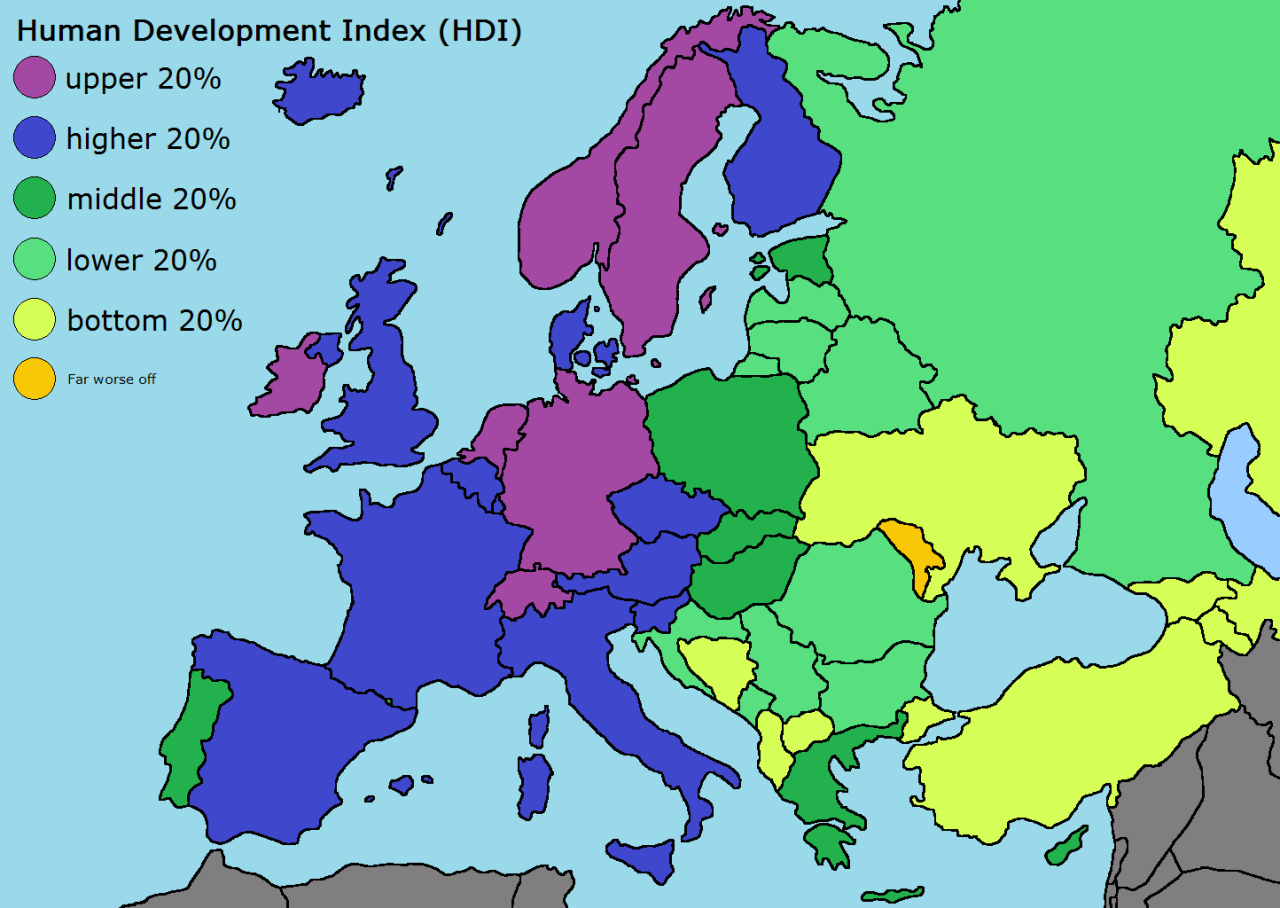 European countries by Human Development Index