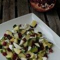Salade fraîcheur de courgettes à la grenade et mozzarella