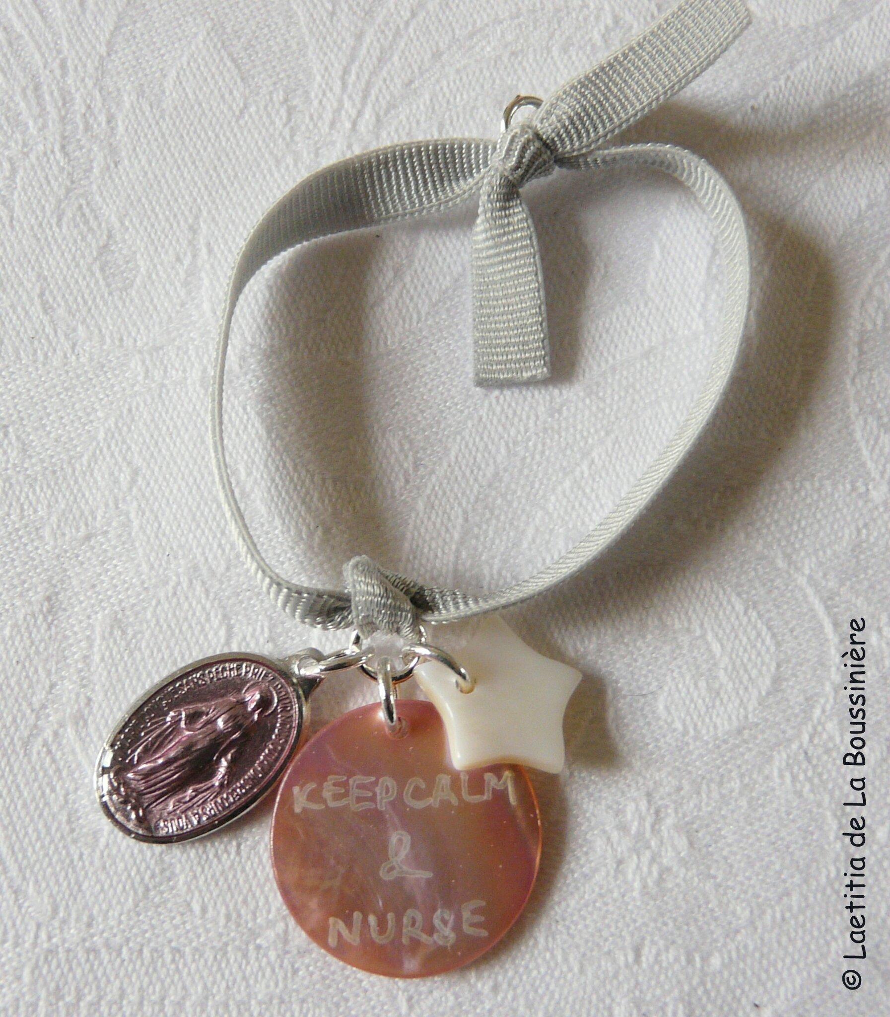 Bracelet d'allaitement Marie (rose clair et gris clair)