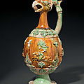 A very rare sancai-glazed pottery phoenix-head ewer, China, Tang dynasty (AD 618-907)