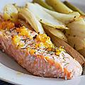 Pavé de saumon à l'orange, fenouil et pommes de terre au four