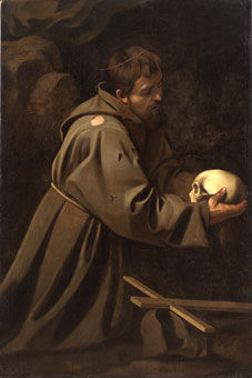 Le Caravage, Saint François en méditation, vers 1602 © Private collection courtesy of Whitfield Fine Art, London