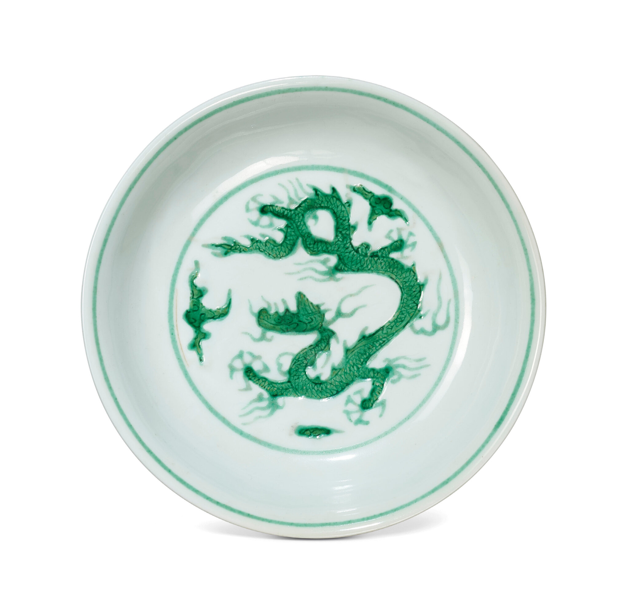 A green-enamelled 'dragon' dish, Zhengde six-character mark in underglaze blue within a double circle and of the period (1506-1521)