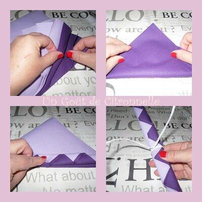 pliage serviettes violettes 1