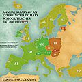 Annual Salary of an Experienced Primary School Teacher in Europe
