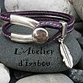 Légère comme la plume de ce bracelet quart de jonc en cuir cousu violet et métal argenté, c'est ce que j'aimerais, aujourd'hui !
