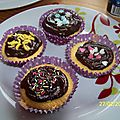 Cupcakes nature glaçage chocolat