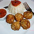 Boulettes de cabillaud a la sauce tomate au cajun