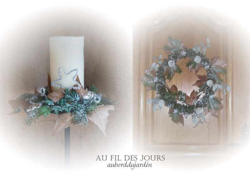 Couronne et bougeoir Noël 2009